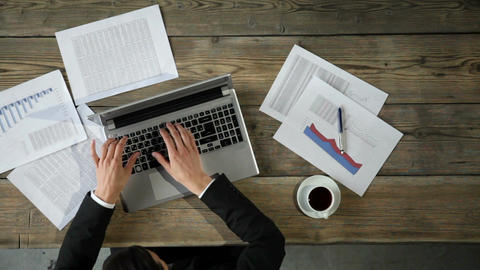 Businessman working with documents Footage