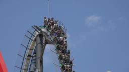 People On Roller Coaster Ride Footage
