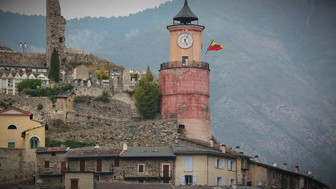 Medieval Tower in the Old Village of Tende in France Footage