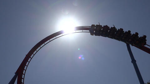 Silhouette Of Roller Coaster Tracks Footage