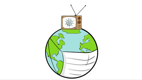 Earth breathe and TV virus show Animation