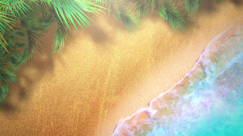 Closeup sandy beach with blue waves of ocean, summer background Animation