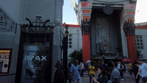 Time lapse of busy pedestrians walking outside TCL Chinese Theatre, in Hollywood Live Action