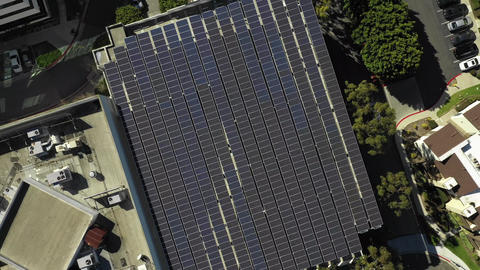Solar building birds eye aerial view ascending, rooftop structural, Long Beach Live Action