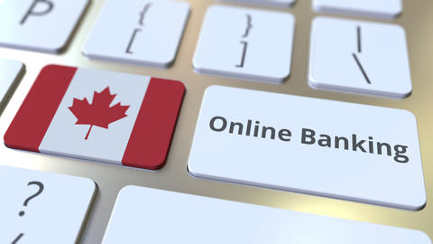 Online Banking text and flag of Canada on the keyboard. Internet finance related Live Action