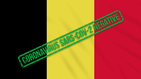 Belgium swaying flag with a green stamp of freedom from coronavirus, loop Animation