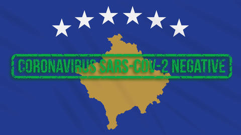 Kosovo swaying flag with a green stamp of freedom from coronavirus, loop Animation