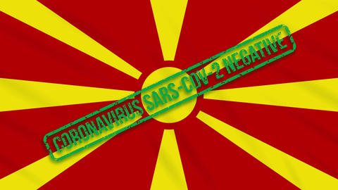 Macedonia swaying flag with a green stamp of freedom from coronavirus, loop Animation