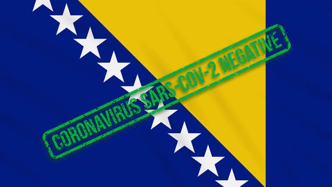 Bosnia and Herzegovina swaying flag with a green stamp of freedom from Animation