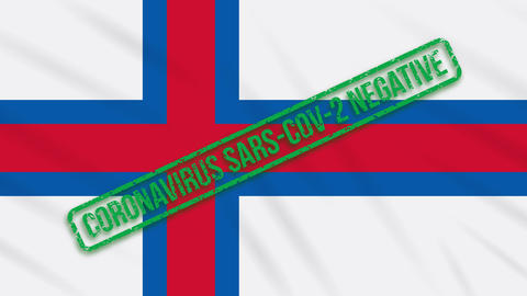 Faroe Islands swaying flag with a green stamp of freedom from coronavirus, loop Animation