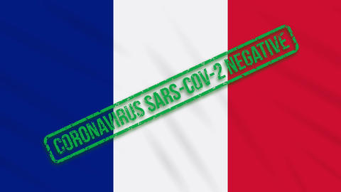 France swaying flag with a green stamp of freedom from coronavirus, loop Animation
