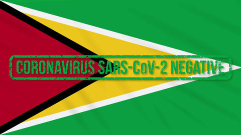 Guyana swaying flag with green stamp of freedom from coronavirus, loop Animation