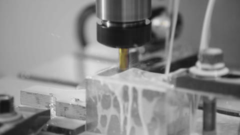 Milling machine in operation high-tech machine lathe metal processing Live Action