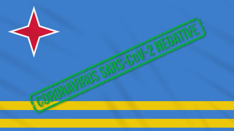 Aruba swaying flag with green stamp of freedom from coronavirus, loop Animation