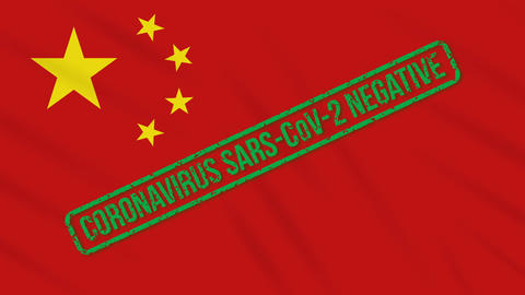 China swaying flag with green stamp of freedom from coronavirus, loop Animation