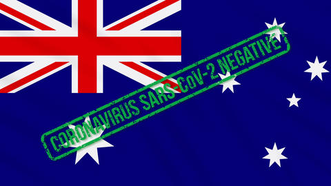 Australia swaying flag with green stamp of freedom from coronavirus, loop Animation