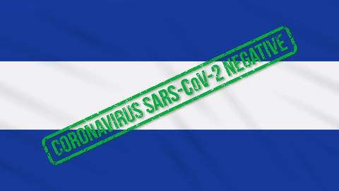El Salvador swaying flag with green stamp of freedom from coronavirus, loop Animation