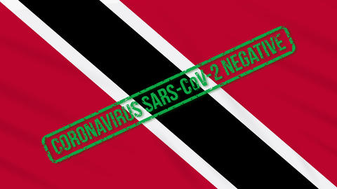 Trinidad and Tobago swaying flag with green stamp of freedom from coronavirus Animation