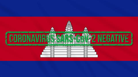 Cambodia swaying flag with green stamp of freedom from coronavirus, loop Animation