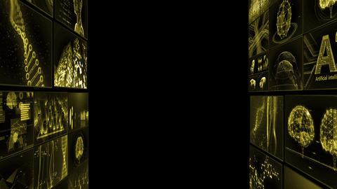 Digital Network TechnologYAI artificial intelligence data concepts Background TD1 Mix yellow Animation