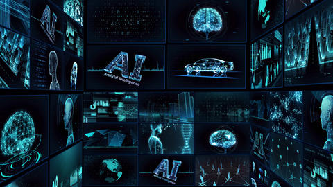 Digital Network TechnologYAI artificial intelligence data concepts Background TE1 Mix blue Animation