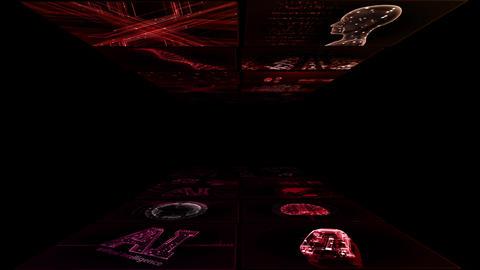 Digital Network TechnologYAI artificial intelligence data concepts Background YA1 2x2 red Animation