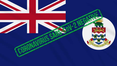 Cayman Islands swaying flag with green stamp of freedom from coronavirus, loop Animation