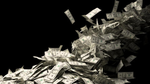 Dollar Bills stacking on Alpha background Animation