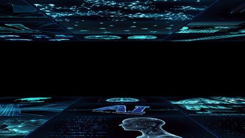 Digital Network TechnologYAI artificial intelligence data concepts Background YC1 3x3 blue Animation