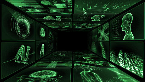 Digital Network TechnologYAI artificial intelligence data concepts Background Y-TA1 2x2 green Animation