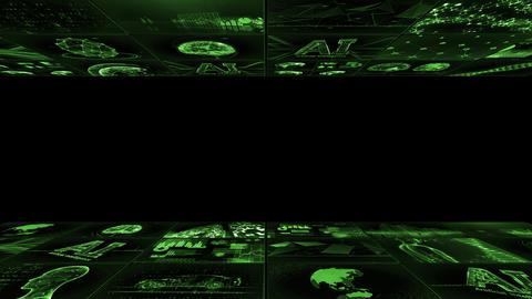 Digital Network TechnologYAI artificial intelligence data concepts Background YD1 3x3 green Animation