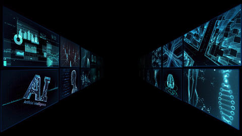 Digital Network TechnologYAI artificial intelligence data concepts Background TA2 2x2 blue Animation