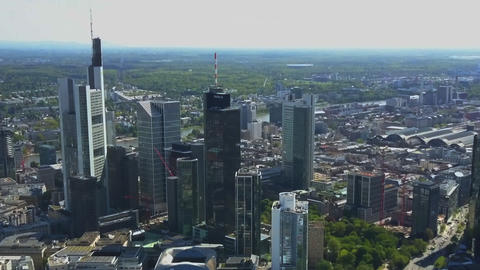AERIAL: View on Frankfurt am Main Skyline Sunshine Live Action