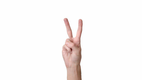 Human hand on a white background isolate, the person shows two fingers. Place to ライブ動画