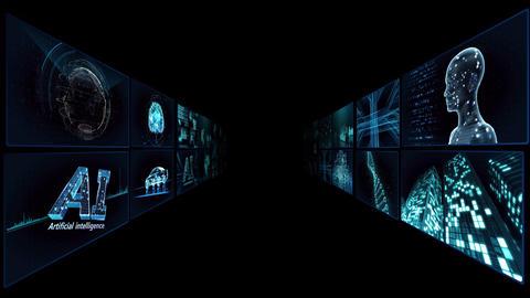 Digital Network TechnologYAI artificial intelligence data concepts Background TA1 2x2 blue Animation