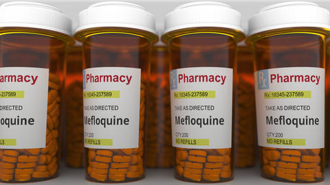 Many pharmacy bottles with mefloquine generic drug pills as a possible Live Action