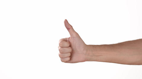 A man's hand on a white background of isolate shows a like. Like social networks Live Action
