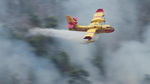 Canadair Fire Fighting Airplane in Action Footage