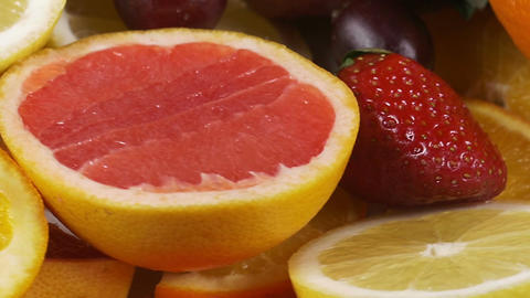 Close-up of a rotating plate with fruit Footage