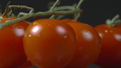 Close-up of cherry tomatoes rotating on a plate Footage