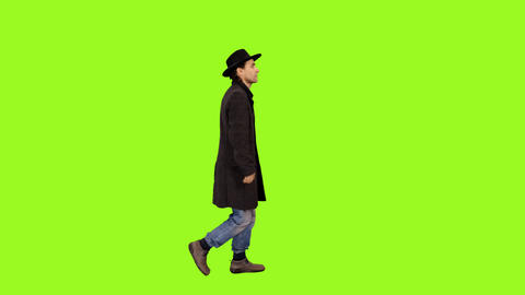 A man walking on a transparent background, Full HD shot with alpha channel Live Action