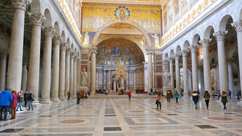 Inside the Basilica of St. Paul Outside the Walls. Zoom. Rome, Italy Footage