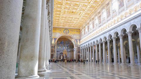Inside the Basilica di San Paolo fuori le Mura. Rome, Italy Footage