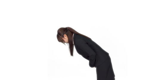Young Japanese business woman bows sideway Footage