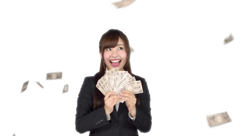 Young Japanese business woman counting money Bild