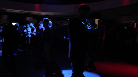 Many guys hang out, enjoying DJ music at cool club, good mood Footage