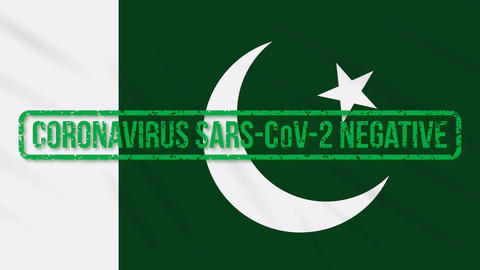 Pakistan swaying flag with green stamp of freedom from coronavirus, loop Animation