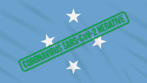 Micronesia swaying flag with green stamp of freedom from coronavirus, loop Animation