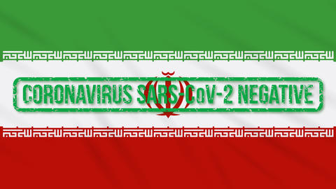 Iran swaying flag with green stamp of freedom from coronavirus, loop Animation