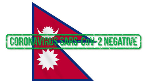 Nepal flag with green stamp of freedom from coronavirus, loop Animation